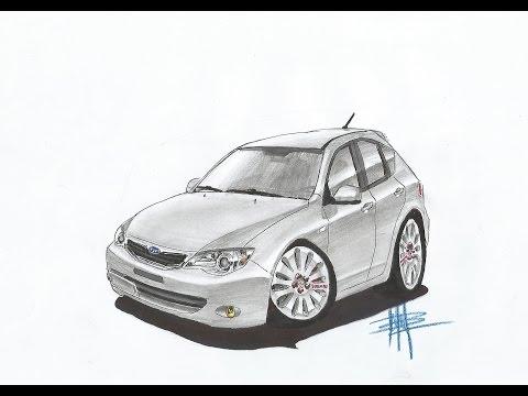 Sketch Drawing - Subaru Impreza Cartoon