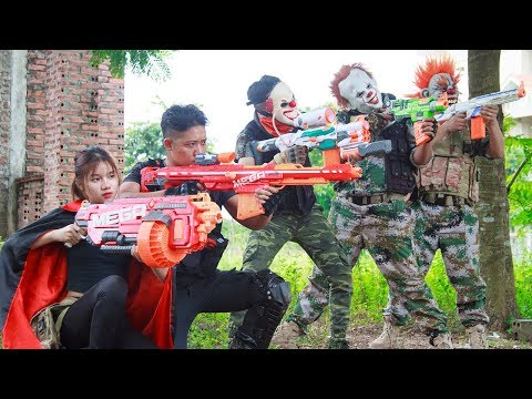 NERF WAR : Special Police SWAT Warriors Nerf Guns Fight Group Dangerous Criminals Mask Requite
