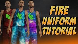 NBA 2K17 FIRE UNIFORM CUSTOMIZATION TUTORIAL!!