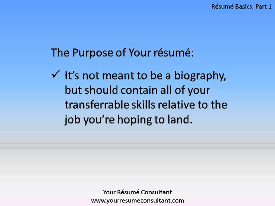 Resume Basics, Part 1 - YouTube