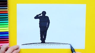 How to draw and color a Soldier Saluting