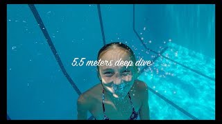 Carla Underwater  swimming in a deep 5.5 meters pool