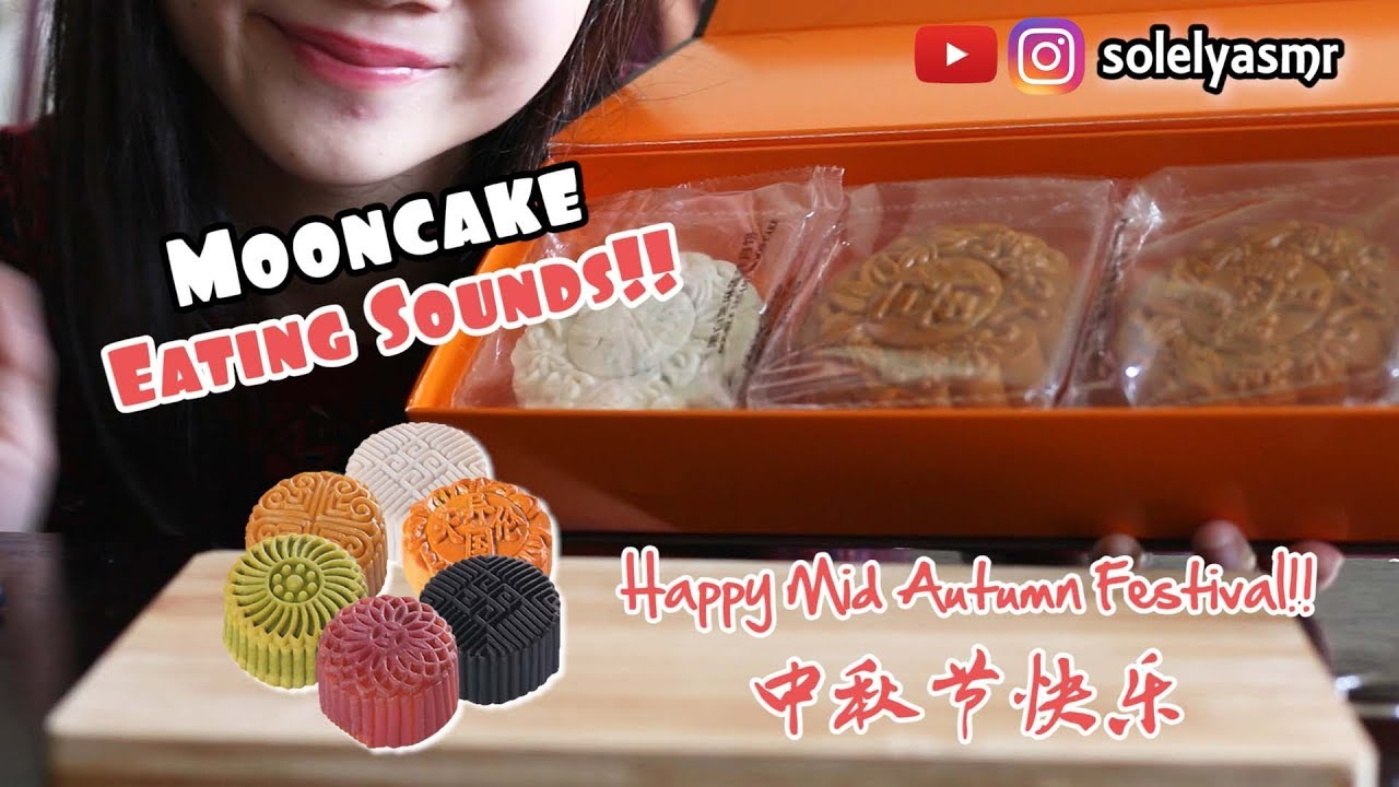 ASMR EATING 4 DIFFERENT FLAVOUR MOONCAKE  | STICKY AND SOFT EATING SOUNDS | SOLELY ASMR