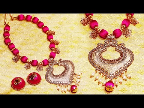 How To Make Party Wear Silk Thread Necklace & Earrings | DIY | Jewelry Making