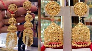 Beautiful Gold Earrings pinjada / jhumka Design with Weight