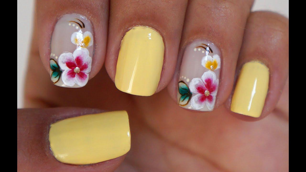 unhas decoradas Flores amarelos