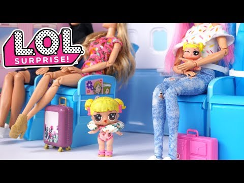 Barbie LOL Family Airplane Travel Routine - Baby Goldie Airport Adventure