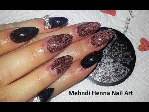 Mehndi Henna Nail Art Nude Almond Nails Youtube