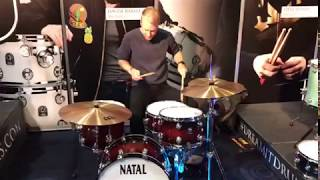 Johnny Marr drummer Jack Mitchell at the UK Drum Show 2017