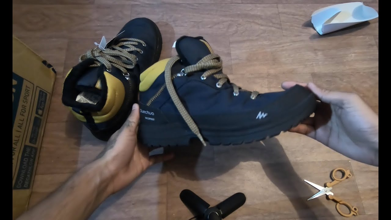 Quechua Men S Snow Shoes Sh100 Warm Waterproof Mid Ankle Blue Decathlon Online Store India Youtube