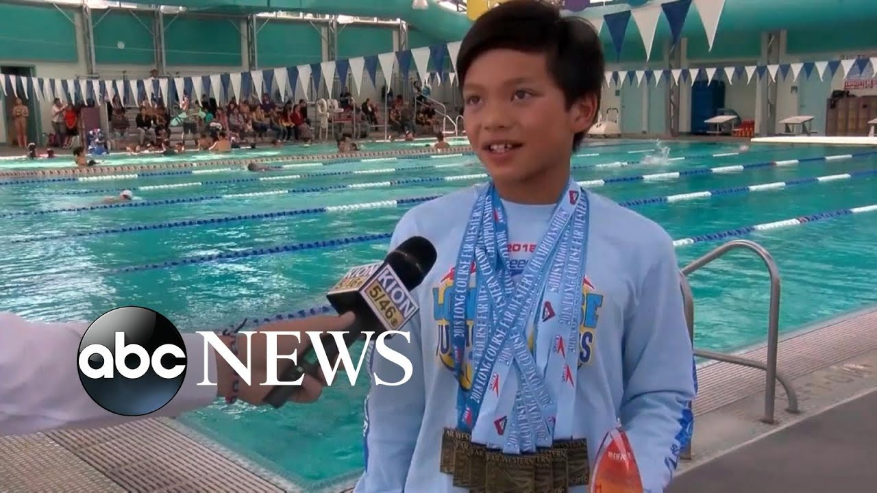 10 year old breaks michael phelps record in the 100 meter butterfly