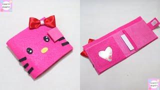 DIY Hello kitty Wallet  NO SEW Tutorial How to make Wallet easyway/No sew wallet / DIY Money Bag