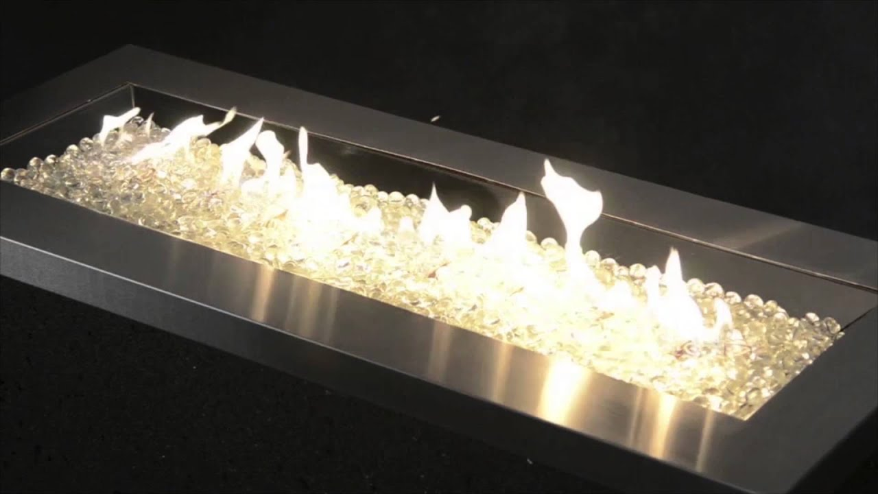 Outdoor Great Room Key Largo Linear Fire Pit With Stainless Steel Top and PropaneNatural Gas