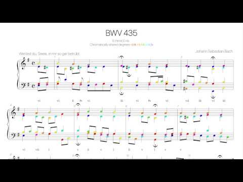 Bach Chorale BWV 435 Harmonic analysis with colored notes-Wie bist du,Seele, in mir so gar betrübt-