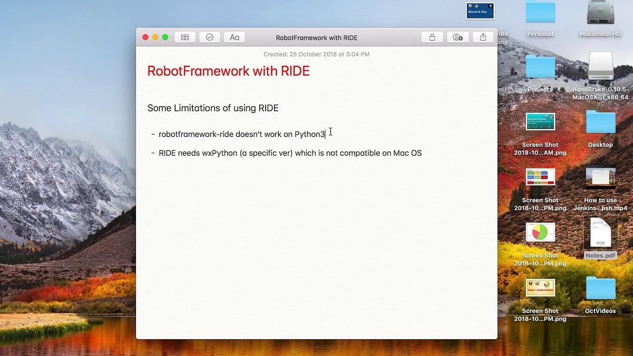 RIDE (RobotFramework IDE) - Some Limitations