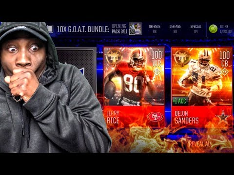 100 OVR JERRY RICE & DEION SANDERS IN G.O.A.T. PACK OPENING! Madden Mobile 18 Gameplay Ep. 5