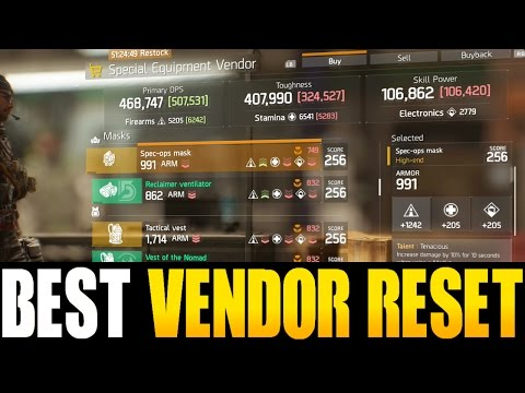 THE DIVISION - BEST VENDOR RESET EVER | GOD ROLL WEAPONS, GEAR & GEAR MODS! (YOU NEED TO BUY)