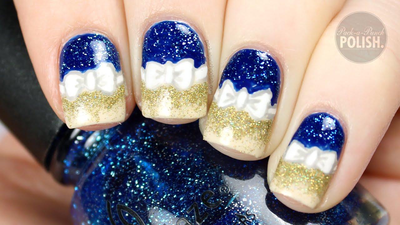 Gold And Blue Holiday Bow Nail Art Tutorial Packapunchpolish Youtube