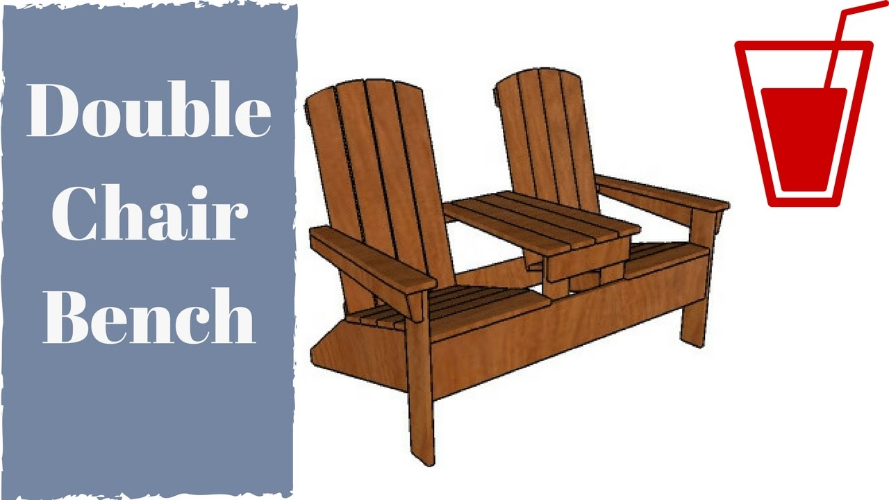 Double adirondack chair with table plans   YouTube