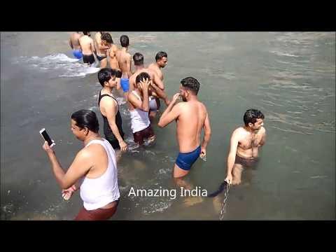 Open bath in the river , Har Ki Pauri ,...