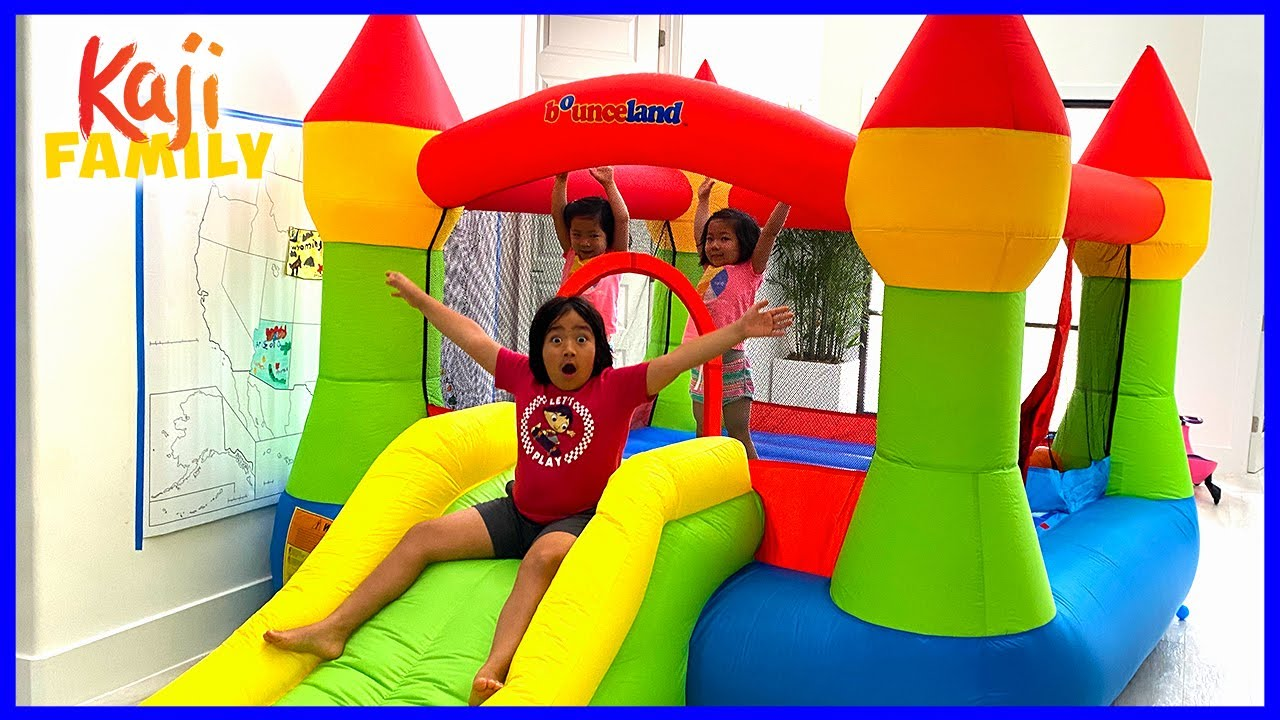 Giant Inflatable Playhouse Inside our House with Ryan's Family!!!!
