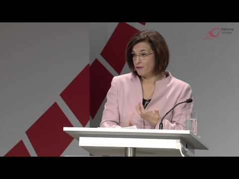 """Milena Harito, Albanian Minister for Innovation at the """"digitising europe"""" summit in Berlin"""