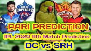DREAM11 IPL 2020 11th MATCH PREDICTION   DC vs SRH     PARI PREDICTION