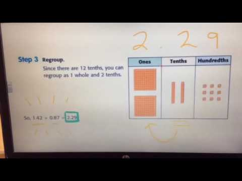 Adding decimals using Base Ten blocks