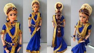 Barbie doll saree making | South indian bridal doll dress and jewellery | Barbie saree draping