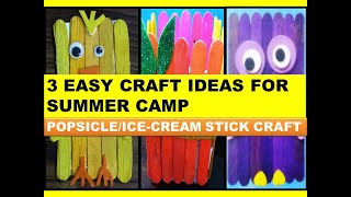 Easy craft ideas for Summer Holidays/DIY craft/Summer camp activities for kids/Popsicle Stick craft