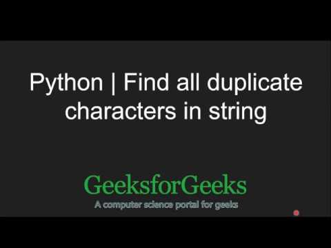 Python Counter| Find all duplicate characters in string