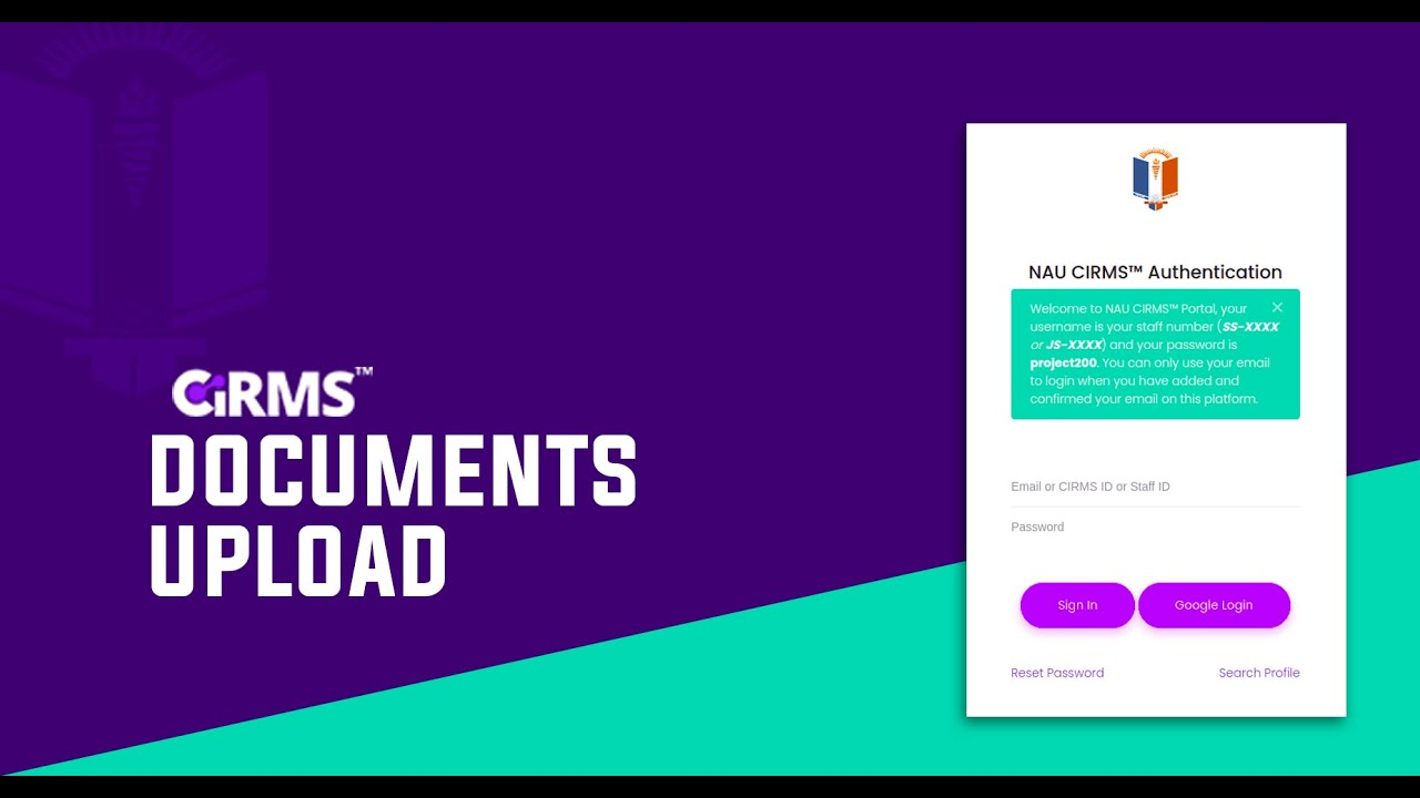 Download Uploading Documents on CIRMS