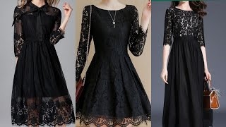 gorgeous and attractive world most favorite black colour lace skater dress design 2020