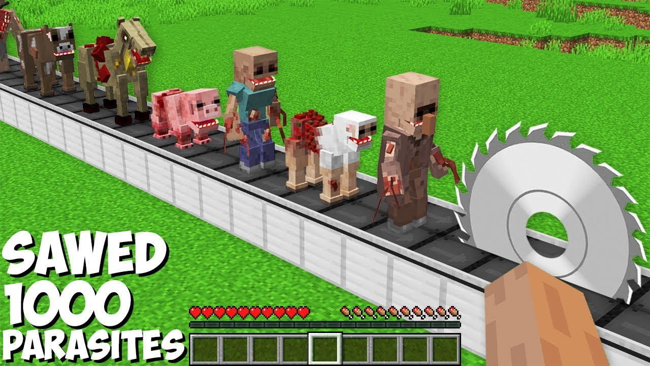 You can SAWED ALL PARASITES in Minecraft ! SUPER TRAP FOR 1000 PARASITES !