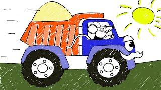 Грузовик - Коте ТВ - Раскраска для детей - Учим цвета легко и весело