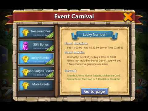 Castle Clash  $100 On Events Treasure Chest & Lucky Number
