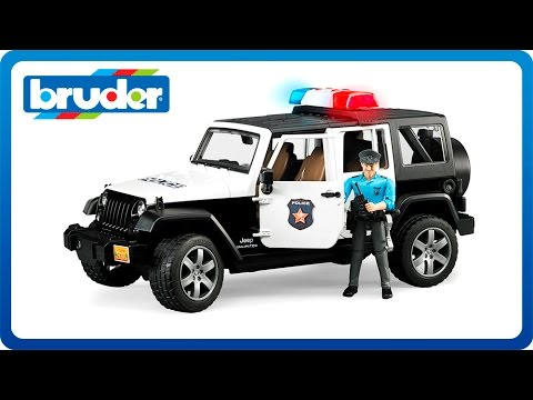Bruder Toys Jeep Wrangler Unlimited Rubicon Police Vehicle with Policeman and accessories 02526
