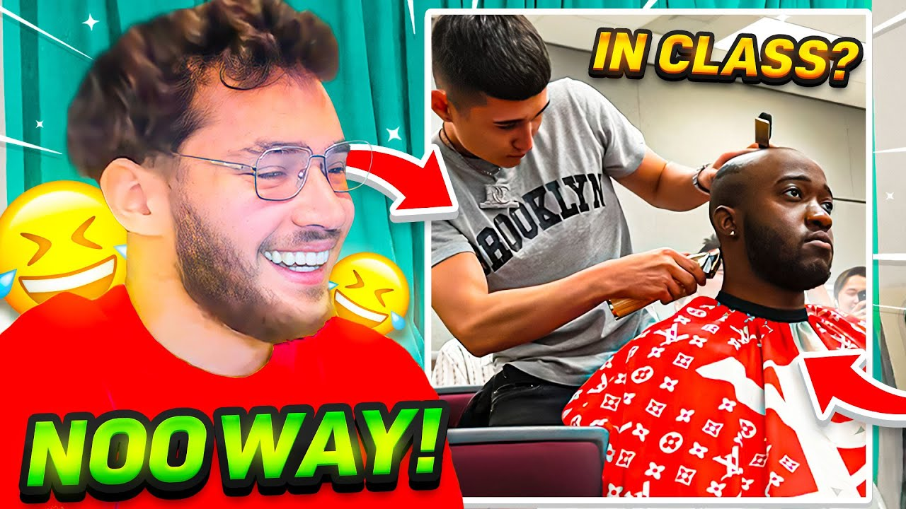 Adin Ross Reacts to JiDion getting a Haircut During College Lecture!
