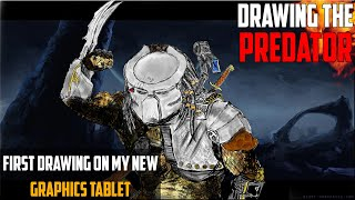 SPEED DRAWING, THE PREDATOR!!! - My First Drawing With My New Huion Drawing/Graphics Tablet...
