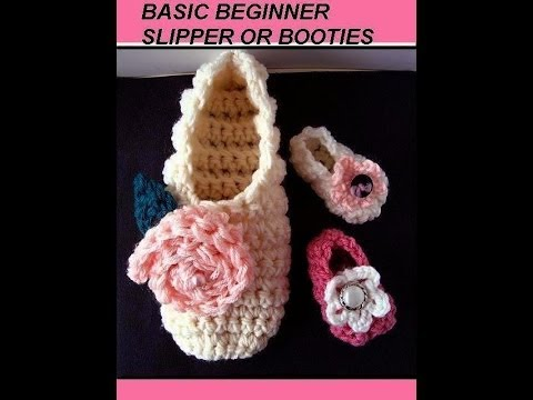 FREE crochet pattern, BASIC BEGINNER SLIPPERS OR BOOTIES,  how to make slippers