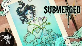 Submerged ♦ Original Watercolor Speedpaint ♦ Micron Pen Lineart