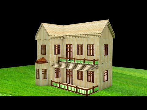 How to make a Wooden Stick House building - Popsicle House building idea