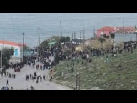 Refugees and migrants protest in Lesbos
