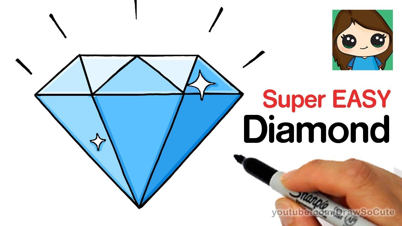 How to draw a diamond super easy youtube for Super easy drawings