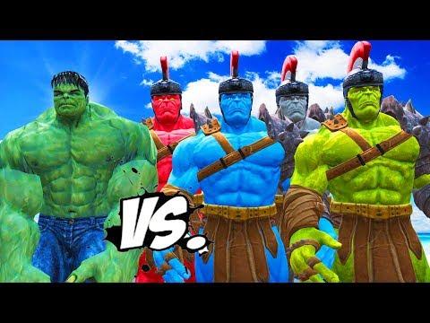 THE INCREDIBLE HULK VS RED HULK, BLUE HULK, GREY HULK, GREEN HULK