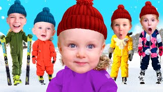Five Kids Winter weather and skiing + more Children's Songs and Videos