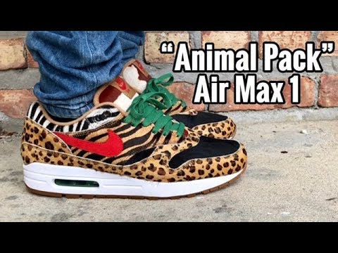"12cf43dbe6f0 Air Max 1 x atmos ""Animal Pack 2.0"" on feet - YouTube"