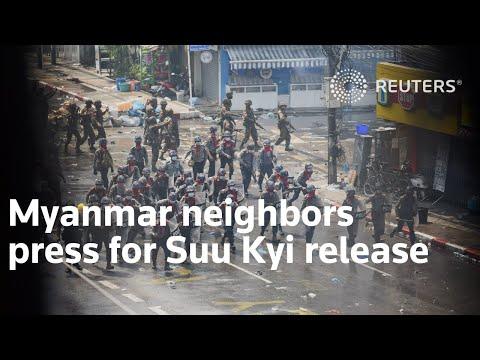 Myanmar neighbors press for Suu Kyi release