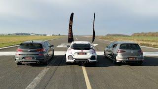DRAG RACE! HONDA CIVIC TYPE R VS GOLF R VS HYUNDAI i30N!