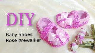 TUTORIAL SEPATU BAYI MAWAR, DIY BABY SHOES ROSE